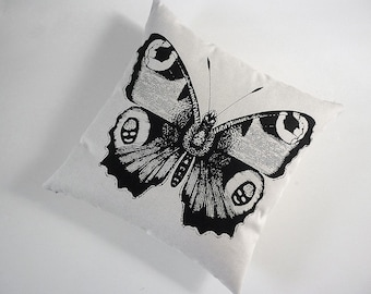 Giant Vintage Butterfly silk screened cotton canvas throw pillow 18 inch BLACK