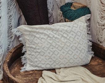 Decorative Boho Pillow Cover, Cushion Cover, Geometric Diamond White Cotton Rectangle Pillow Case, Throw Pillow, 12X18 Cover