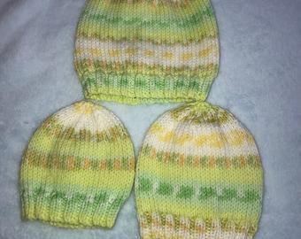 Handknitted baby hat, premmie baby hat, newborn baby hat, knitted baby hats, green/yellow baby hats, knitted baby clothes, newborn knits,