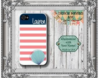 Seashell Monogram iPhone Case, Personalized iPhone Case, iPhone 4, iPhone 4s, iPhone 5, iPhone 5s, iPhone 5c, iPhone 6, 6 Plus, Phone Case