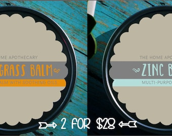 SALE! (1) Zinc Balm + (1) Lemongrass Balm = (2) 8oz tins for 28