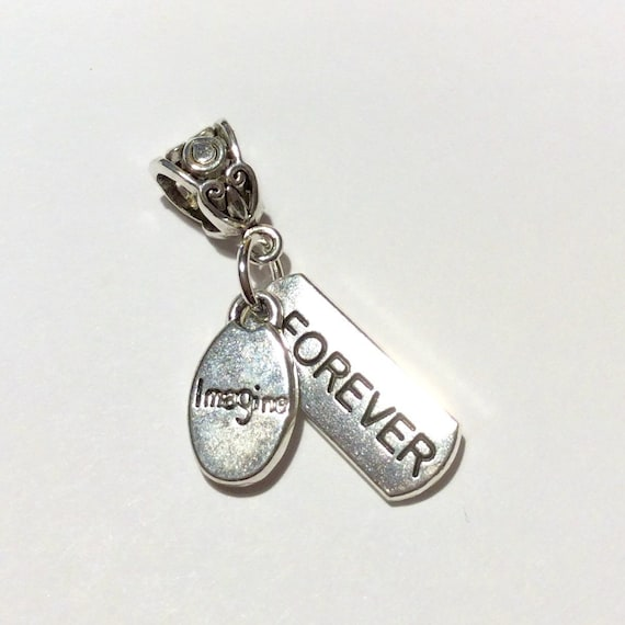"JW ""Imagine Forever"" Charm, Dangle Style, European Style, Silver-tone Optional chain #312"