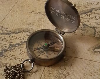 Engraved Compass, Personalized Compass, Working Compass, Groomsmen Gift, Christmas Gift, Fathers Day Gift, Valentines Day, Anniversary Gift