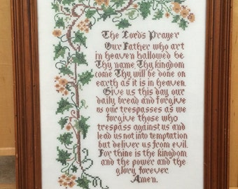 Beautiful Vintage Framed Cross Stitch The Lords Prayer Professionally Framed