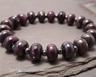 Lampwork Glass Bead Stretch Bracelet - Black Purple Pearl and Silver, Handmade with Haematite accent beads