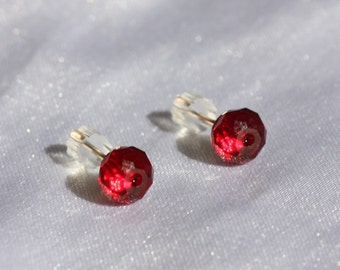 Red Crystal Studs, Gold Stud Earrings, Red Studs, Red Stone Studs, Hypoallergenic Stud Earrings,Red Crystal Earrings, Stud  Size 5 mm
