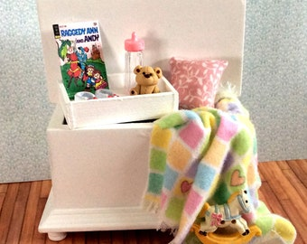 Miniature One Inch Scale Filled Pink and Yellow Baby's Trunk