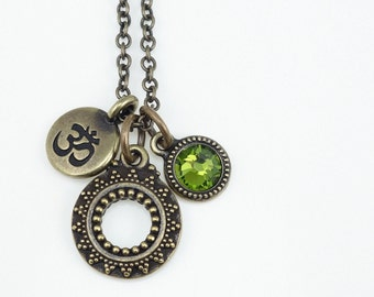 Yoga Jewelry Antique Brass Charm Necklace Mindfulness Jewelry Bronze Necklace Custom Color or Olive Green Swarovski Om Pendant Personalized
