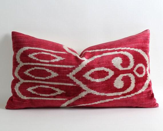 Red Ikat Pillow Cover 14x25 Velvet Ikat Lumbar Long Pillow
