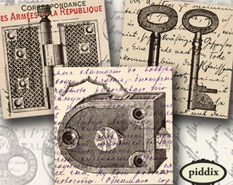 Steampunk Hardware on Vintage Postcards in 2.5 inch squares -- piddix digital collage sheet no. 543
