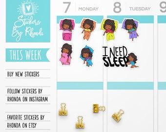 Dark Skin Girl Stickers - Nap Stickers - Functional Planner Stickers - Sleep Stickers - Black Girl Stickers - Sleepytime Jackie