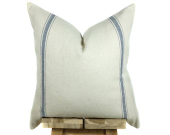Grain Sack Pillow Cover | Modern Farmhouse Collection | Blue Stripe