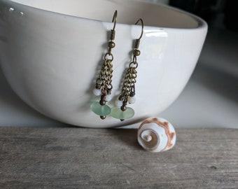 Seafoam Beach Glass Dangle Earrings