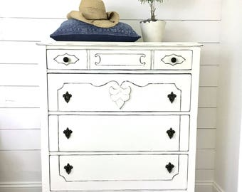 SOLD Farmhouse Painted & Distressed White Dresser .  Annie Sloan Chalk Paint . Shabby Chic . Fixer Upper