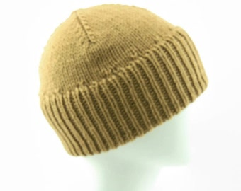 Womans double cuffed wool beanie