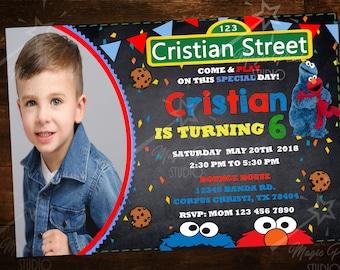 Custom Digital Sesame Street Elmo & Cookie Monster Invitations