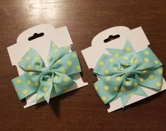 Boutique Custom Made Hairbow Set of two Aqua with Pale Yellow Polka Dots Pigtail grosgrain ribbon...FREE SHIPPING