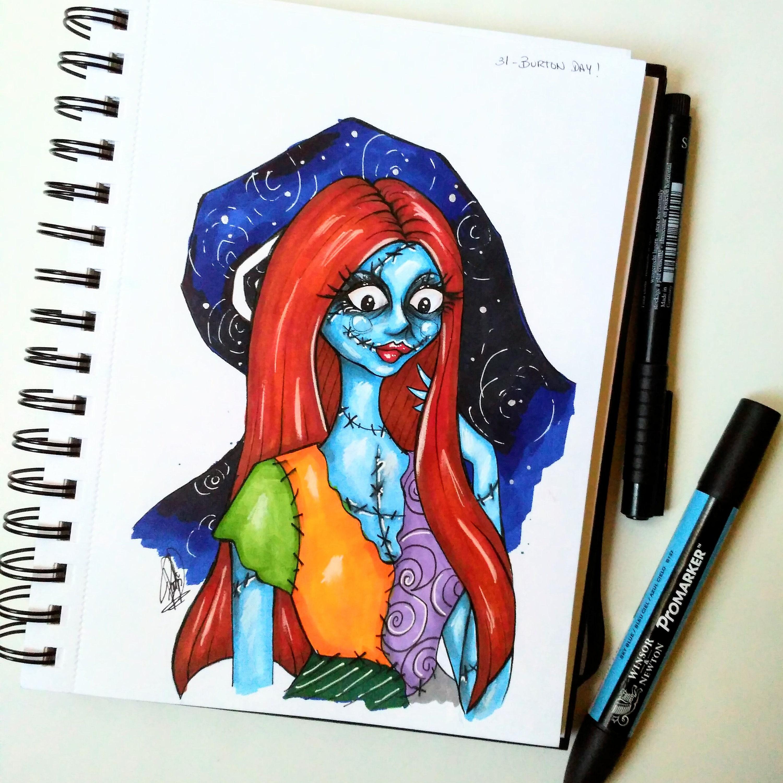 Sally illustration inspired in Tim Burton\'s film