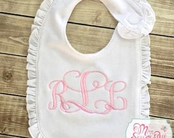Baby Girl Ruffle Bibs with Monogram