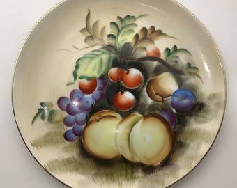 Lefton China Decorative Wall Plate Hand-Painted Harvest Bounty of Fruit Made in Japan Vintage