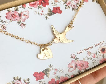 Gold Bird Initial Necklace, 14K Gold Filled Swallow Bird Initials Necklace, Everyday Jewelry, Mothers Necklace, Personalized Gift