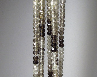 Ombre Shaded Smokey Quartz Faceted Rondelle Beads  3mm - 4mm