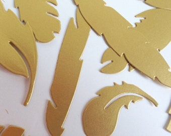 Wedding Party Confetti Gold Feathers