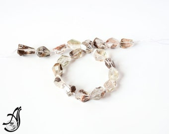 Natural Whtite Quartz Faceted Tumble , with Mother rock sand on 14x20 mm 14 inch full strand,Powerful healing.