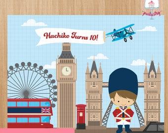 London Calling Backdrop Banner - Printable Backdrop Banner