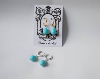Blue Turquoise Shell Pearl Earrings, Turquoise Teardrop earrings, Regency Jewelry,  Light Blue Teardrop Earring, Historical Jewelry Blue