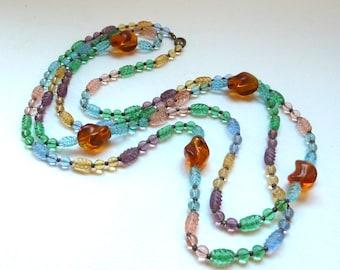 Vintage Czech Glass Bead Necklace - Opera Length Necklace - Art Deco Necklace - Chic Czech Glass Beads - Pastel Rainbow  - Boho Fashion