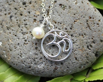 Pearls of Wisdom Aum necklace - sterling silver zen meditation charm & freshwater pearl on delicate sterling chain - free shipping in USA