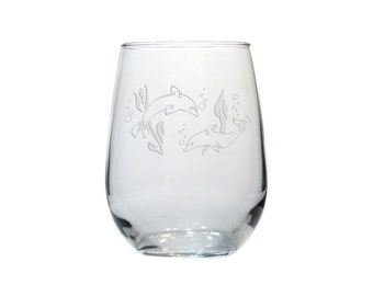 Dolphins Stemless Wine Glass /  Free Personalization / 17 oz Stemless Wine Glass / Personalized Wine Glass / Personalized Gift