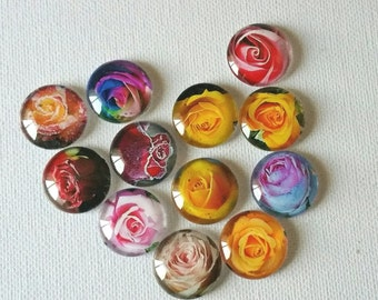 Glass Photo Cabachon, Rose Photo Cabochons, 20mm Glass Dome Cabochons for bezel setting, Jewelry Supplies, Craft Supplies