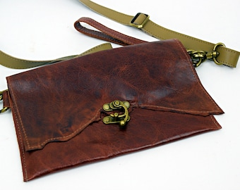 Brown OOAK Leather Purse with Brown leather Strap and Wristlette Strap