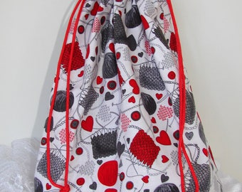 Yarn Project Bag - Red, Gray & White Squared Bottom