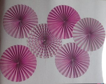Paper Fans Wheels, Baby Shower or Party Decoration, Babies first Birthday Party decoration, shades of Pink fans. Set of 6 fans.
