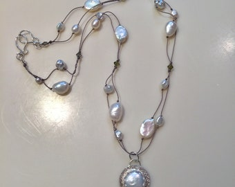 Fresh Water Pearl Necklace with Coin Pearl Pendant