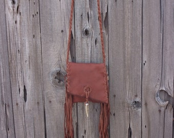 Fringed leather purse , ready to ship , crossbody bag