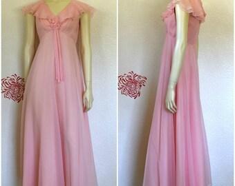 Vintage Pink Dress | Chiffon Gown | Long Pink Dress | Cape Dress | Empire Waist | Prom Dress | Pink Chiffon Dress | Party Dress | Flutter
