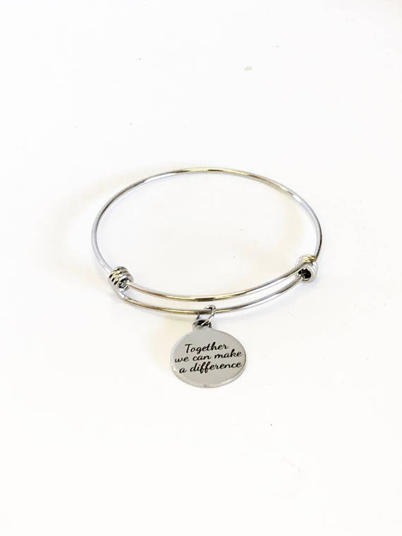 Together We Can Make A Difference Stacking Expandable Bangle Charm Bracelet, Mindfulness Jewelry, Social Awareness Gifts, Direct Sales Teams