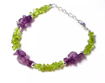 Artisan PERIDOT and AMETHYST Bracelet 7-7.5 inches (Said to Attract Harmony and Prosperity) dc