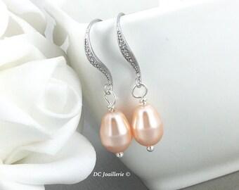 Pearl Dangle Earrings Bridesmaid Earrings Peach Earrings Drop Bridal Earrings Maid of Honor Gift Idea Swarovski Jewelry Gift for Her