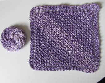 knitted dishcloth and crocheted scrubbie purple