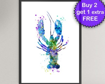 LOBSTER Watercolor Art Print Sea Life Ink Painting Underwater illustrations Art Print Wall Art Poster Giclée Wall Decor Art Home (Nº2)