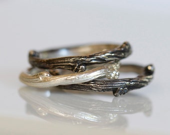 Willow twig ring, sterling silver stacking rings, twig stacking set, Made to order, your size