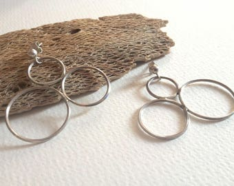 Handmade Sterling Silver Earrings - Artisan, Contemporary, Rough, Hand Forged Jewellery, One-of-a-kind, Unique Gift