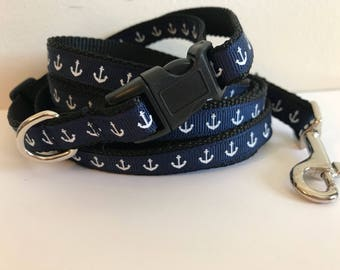 Small 1/2 Inch Navy Blue with White Anchors Nautical Leash and Collar Set