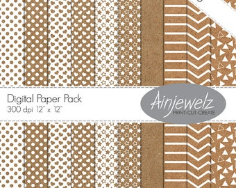 Kraft digital paper kraft paper download craft paper printable white patterned paper kraft background kraft scrapbook paper texture papers