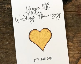 5th Wedding Anniversary Card. 5th Wedding Anniversary Wood Card. Envelope Included.
